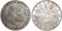 Austria. Vienna mint. Silver 25 Shillings 1958. UNC