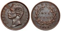World Coins - Sarawak (North-West Borneo). Charles Rajah (1868-1917) AE Cent 1884. AU