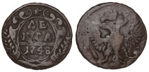 World Coins - Russia. CU 1 Denga 1748. Fine