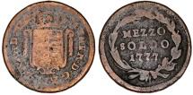 World Coins - Italy. Milan. Austrian occupaiton period.  Cu Mezzo Soldo 1777. VG/Fine