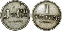 World Coins - Islands of Curacao under Netherlands Rule. AR Stuiver 1880. XF