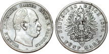 World Coins - Germany. Empire. Prussia. Wilhelm I (1871-1888). Silver 5 Mark 1874 A. aVF