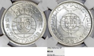 World Coins - Macau as Portuguese Colony. Silver 5 Pacatas 1952. NGC MS64