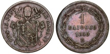 World Coins - Italy. Papal States. Rome. Pope Pius IX (1846-1878). Bronze Baiocco 1850 R. Choice VF.