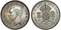 World Coins - Great Britain. George VI. AR Florin 1946. Choice AU/UNC , toned.