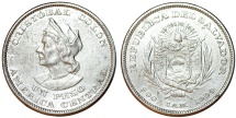 World Coins - Republic of El Salvador. Silver Peso 1904 CAM. Nice AU, better date
