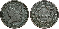 Us Coins - USA. Classic Head Half Cent 1833. VG+