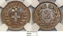World Coins - Switzerland. Federation issue. AE 2 Rappen 1850 A. NGC AU58 BN, RARE DATE