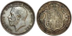 World Coins - Great Britain. king George V. AR Half Crown 1917. Toned VF