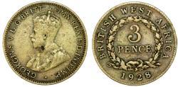 World Coins - British West Africa. King Geroge V.  Tin-Brass 3 Pence 1928. Fine+