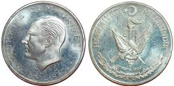 World Coins - Turkey. Republic (since 1923). Commemorative Silver 50 Lira 1960AD. Toned Proof-like