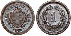 World Coins - Switzerland. Federation issue. AE 1 Rappen 1902 B. Choice AU, rare date