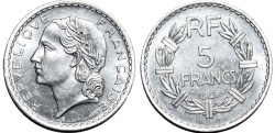 World Coins - France. Republic. Al 5 Francs 1949. Choice UNC