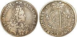 World Coins - Germany: SAXONY. Friedrich August I (1694-1733). AR 2/3 Thaler (Gulden) 1696 IK. Fine+/aVF