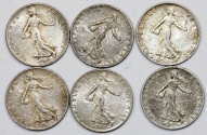 World Coins - France. III Republic. Lot of 6 Silver Coins 50 cents 1913-1918. XF/XF+
