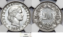 World Coins - Switzerland. Federation issue. CU-NI 20 Rappen 1927B. NGC AU55