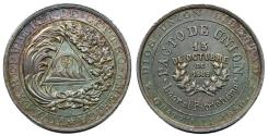World Coins - GUATEMALA. Central American Union Medal in Silver 1890. Choice AU