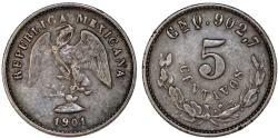 World Coins - Mexico. AR 5 Centavos 1901 Cn. XF