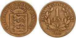 World Coins - Danish West Indies. Virgin Islands. Frederick VII (1848-1863). AE 1 Cent 1860, aVF