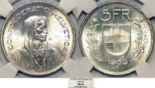 World Coins - Switzerland. Federation. AR 5 Francs 1939. NGC MS64