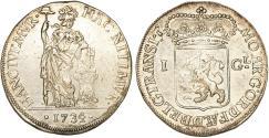 World Coins - Netherlands. United Provinces. Overijssel. AR 1 Gulden 1734. Choice VF