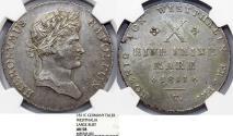 World Coins - Germany. Napoleonic Wars. Westphalia. Jerome Napoleon (1807-1813) Silver Thaler 1811 C. NGC AU58