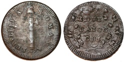 World Coins - Papal States. I Roman Republic (1798-1799) AE 2 Baiocci ND (1799). VG.