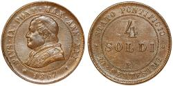World Coins - Italian Papal States. Rome. Pope Pius IX (1846-1878). AE 4 Soldi 1867 R. Choice AU