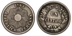 World Coins - Peru. CU-NI 1 Centavo 1863. AVF