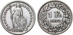 World Coins - Switzerland. Federation. AR 1 Franc 1932. VF