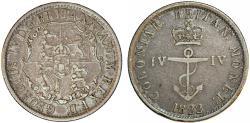 "World Coins - British Colonial: West Indies. George IV. Silver 1/8 Dollar ""Anchor Money"" 1822. Choice VF"