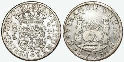 World Coins - MEXICO. Philip VI (1746-1759). Pillar Coinage. Silver 4-Reales 1753-Mo MF. Nice VF