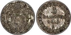 World Coins - Italian Papal States. Vatican. Pope Pius IX (1846-1878). AR 5  Baiocchi AN.XII - 1858 R. Choice VF, toned