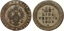 World Coins - Napoleonic Period. Italy. Venice. Francis II of Austria AR 1 1/2 Lira 1802A . Toned VF+