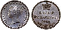 World Coins - Great Britain. Victoria. CU 1/2 Farthing 1843. Nice Choice XF/AU