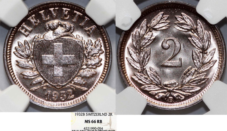World Coins - Switzerland. Federation issue. AE 2 Rappen 1932 B. NGC MS66 RB!