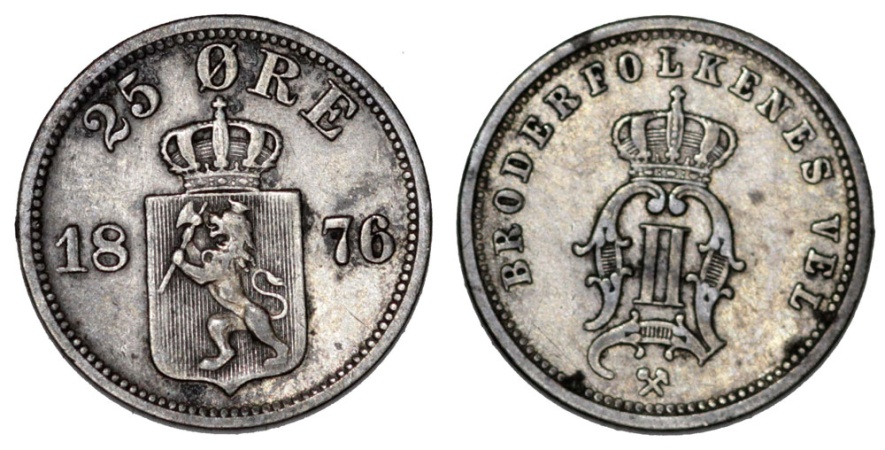 World Coins - Norway. AR 25 Ore 1876. VF+