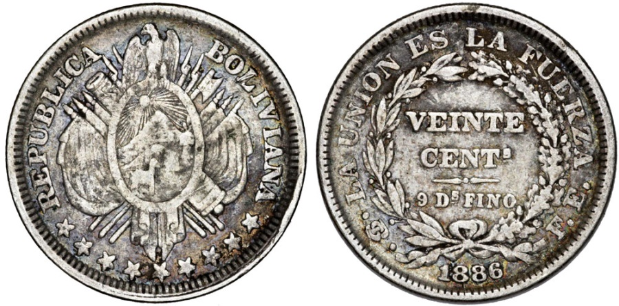 World Coins - Bolivia. Republic. AR 20 Centavos 1886 . aVF.