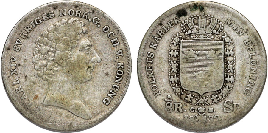 World Coins - Sweden. Carl XIV Johan. AR 1/8 Riksdaler 1832. Fine+