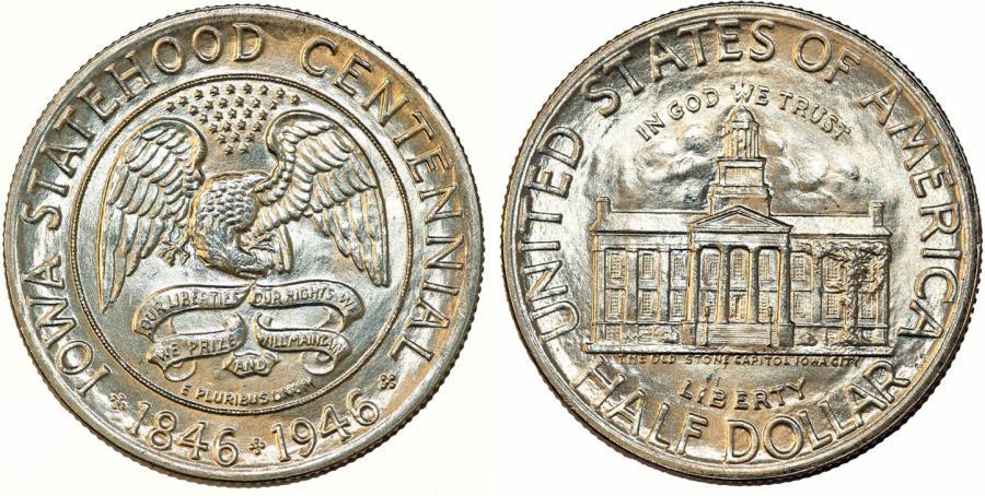 US Coins - USA. Silver Commemorative: IOWA 50C 1946. Choice UNC
