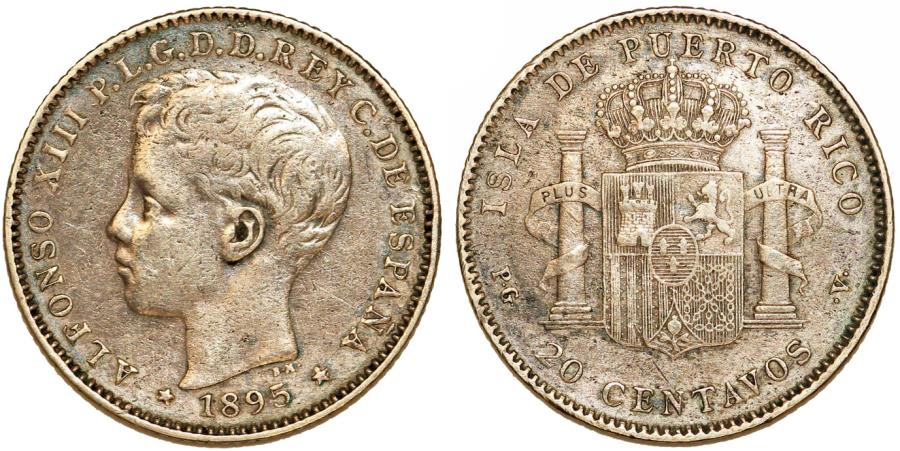 World Coins - Puerto Rico. Alfonso XIII. AR 20 Centavos 1895. Toned VF