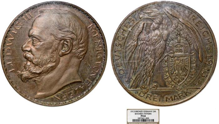 World Coins - Germany. Bavaria. Ludwig III (1913-1918). PATTERN Bronze 3 Mark 1913G. NGC PF64