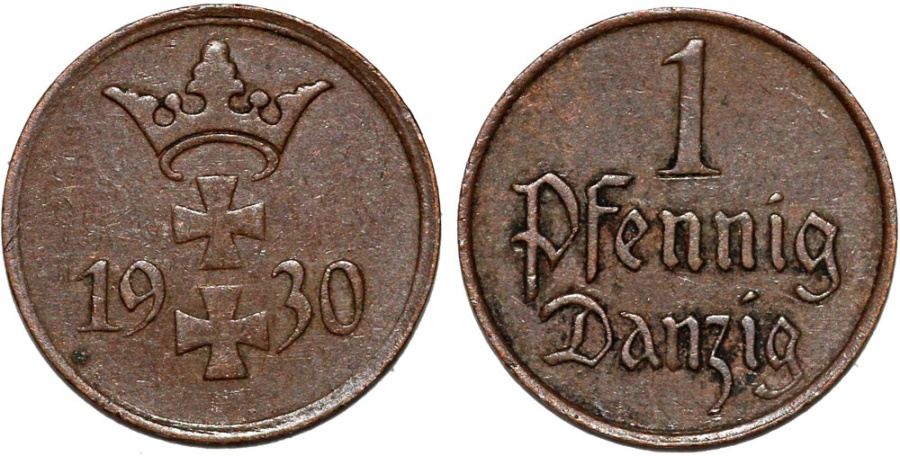 World Coins - Free City of Danzig. 1 Phennige 1930. XF+