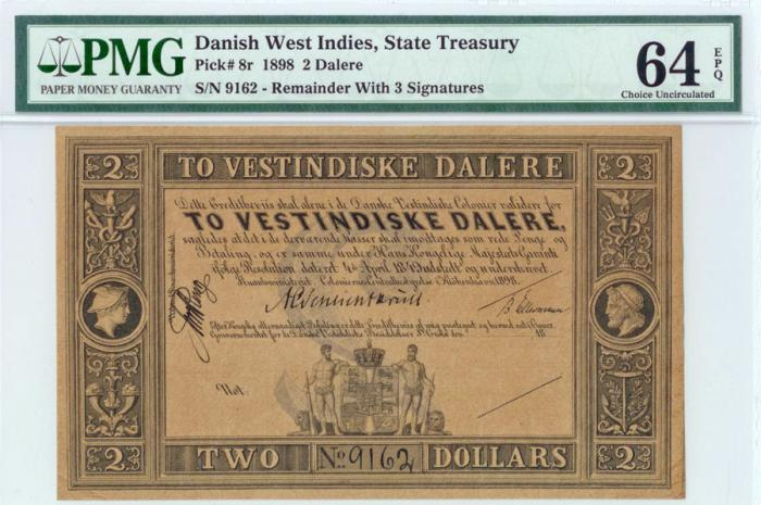 World Coins - Danish West Indies. State Treasury Note. 2 Dollars 1898. PMG 64 EPQ!