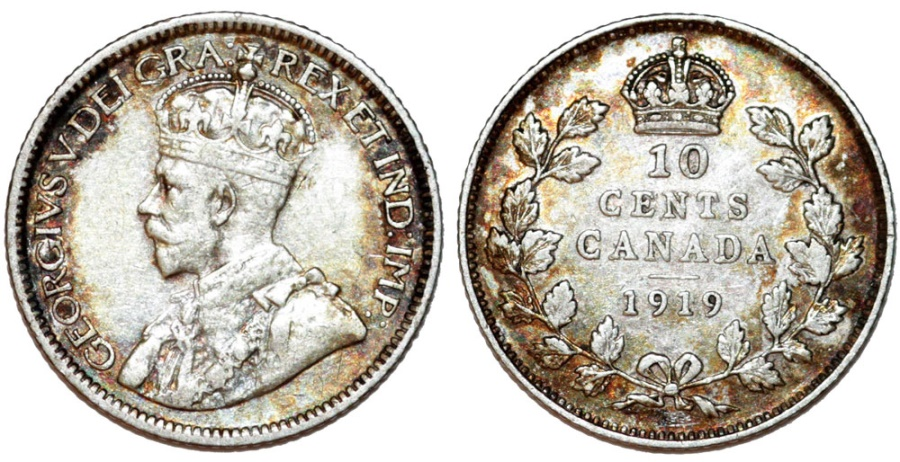 World Coins - Canada. Silver 10  Cents 1919.  Choice XF+, toned