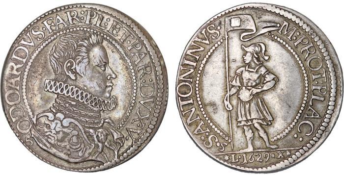World Coins - Italy. Piacenza. Odoardo Farnese (1622-1646). AR Scudo 1629. Nice Choice VF.