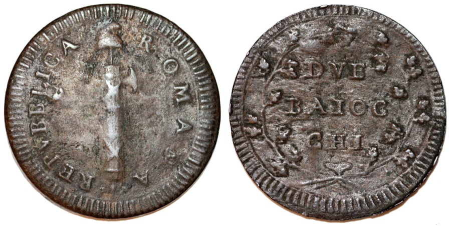 World Coins - Papal States. I Roman Republic (1798-1799) AE 2 Baiocci ND (1799). VG.