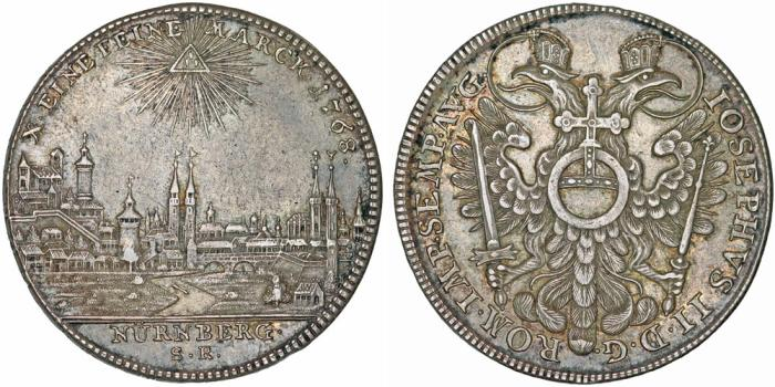 World Coins - GERMANY: Nürnberg (Stadt) as part of H.R.E. Joseph The Emperor (1765-1790). AR Reichstaler 1768. VF