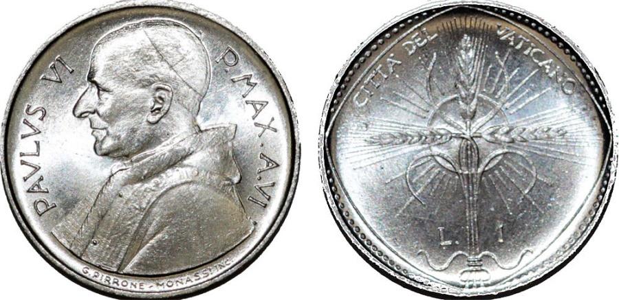 World Coins - Vatican City. Pope Paulus VI. Al 1 Lira 1968. FAO. BU