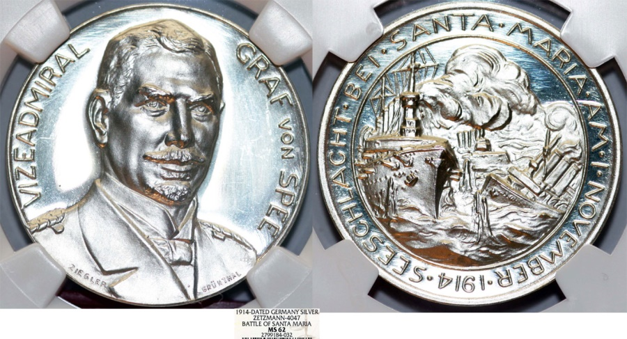 "World Coins - GERMANY.  Admiral Maximilian, graf von Spee (1861-1914)."" Battle of Coronel, off Santa Maria, Chile"", Silver Medal 1914. NGC MS62!."